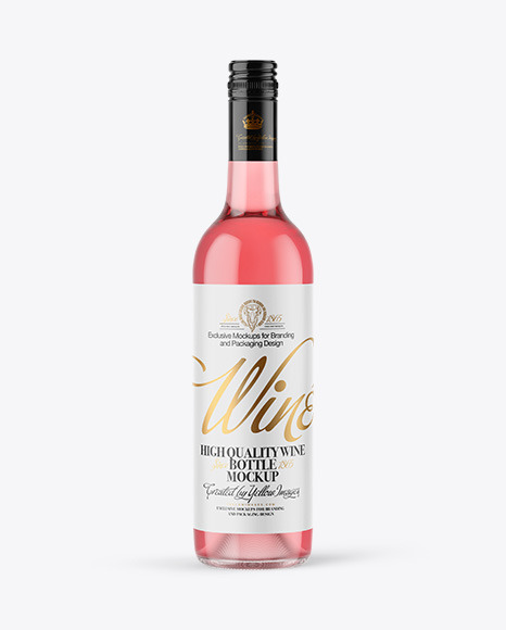 Clear Glass Pink Wine Bottle with Screw Cap Mockup
