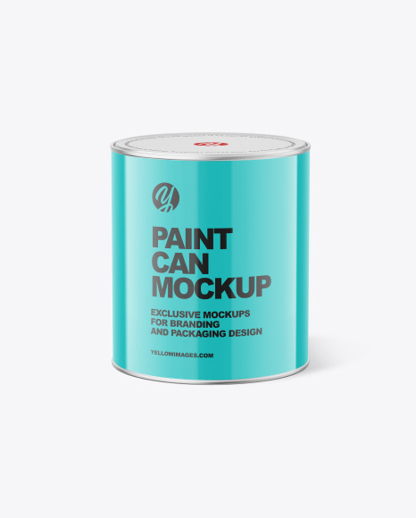 Glossy Paint Can Mockup