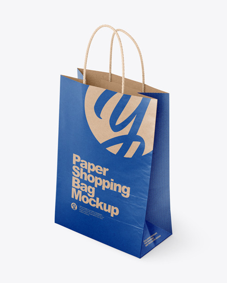 Kraft Paper Shopping Bag Mockup - Half Side View