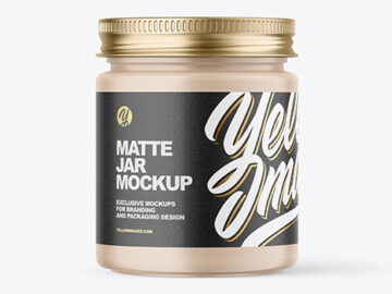 Matte Cosmetic Jar with Metallic Cap Mockup
