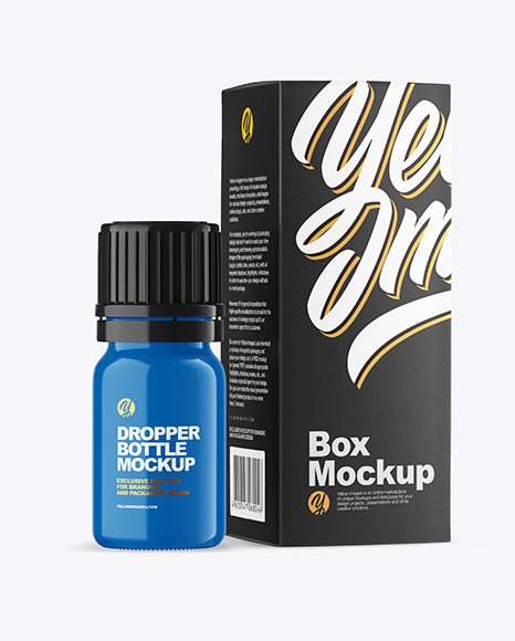 Glossy Bottle with Box Mockup