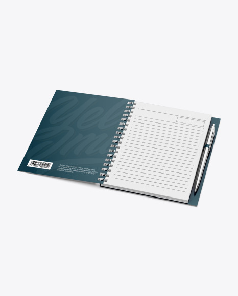 Notebook With Metal Writing Pen Mockup