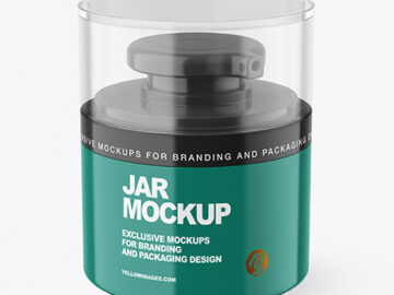 Glossy Cosmetic Jar with Pump Mockup