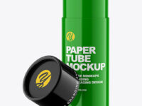 Opened Glossy Paper Tube Mockup