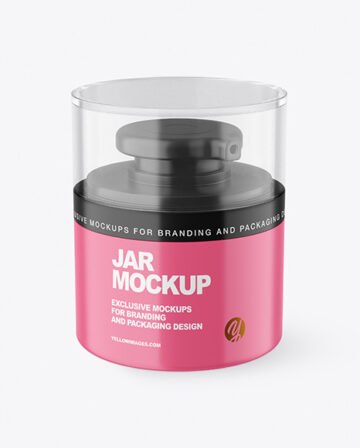 Matte Cosmetic Jar with Pump Mockup