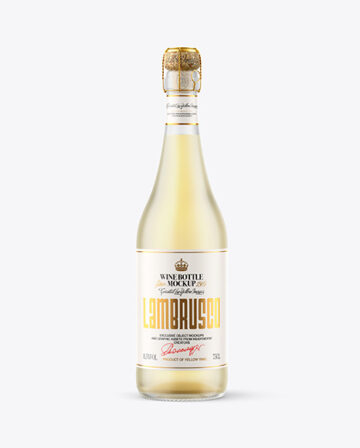 Frosted Glass Bottle w/ White Wine Mockup