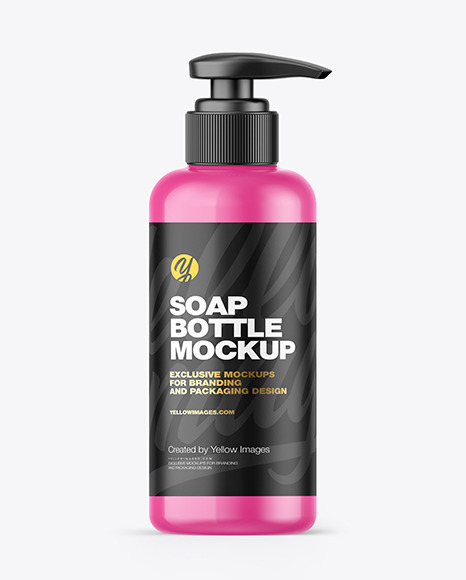 Glossy Soap Bottle w/ Pump Mockup