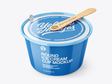 Ice Cream Glossy Plastic Cup With Wooden Stick Mockup