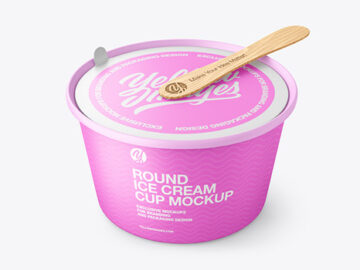 Ice Cream Matte Plastic Cup With Wooden Stick Mockup