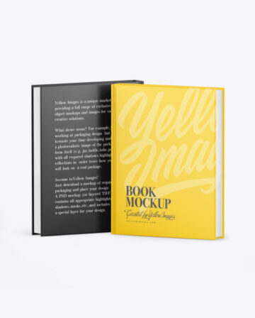 Two Hardcover Books w/ Mattle Covers Mockup