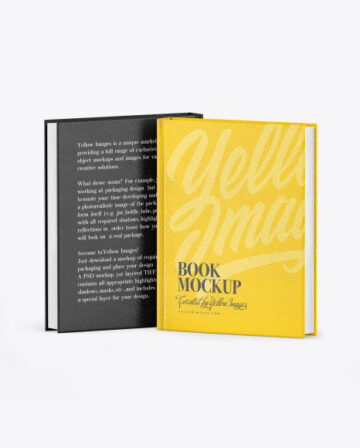 Two Hardcover Books w/ Leather Covers Mockup