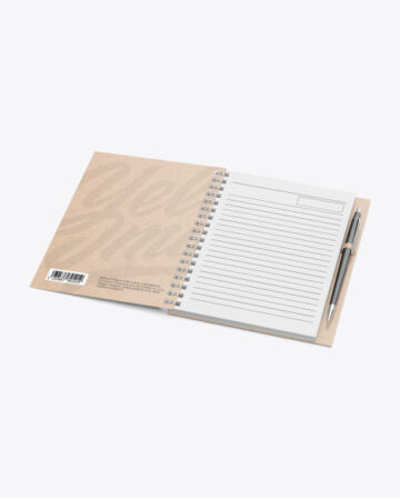 Kraft Paper Notebook With Writing Pen Mockup