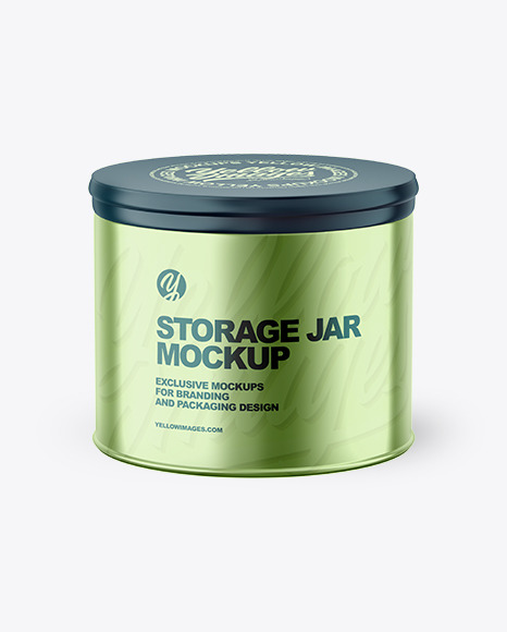 Metalliс Storage Jar Mockup