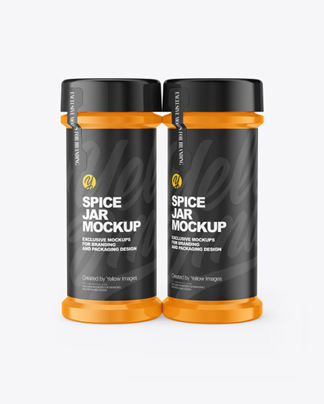 Two Glossy Spice Jars Mockup