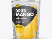 Frosted Plastic Pouch w/Dried Mango Mockup