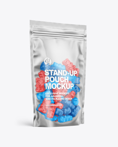 Frosted Stand-up Pouch with Gummies Mockup