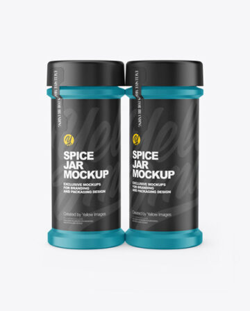 Two Matte Spice Jars Mockup