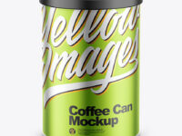 Coffee Tin Can with Matte Metallic Finish Mockup