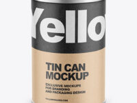 Tin Can with Kraft Finish Mockup