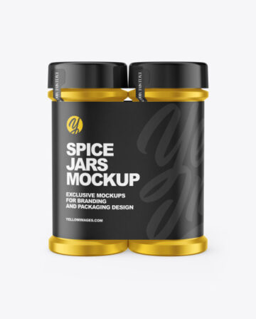 Two Metallic Spice Jars Mockup