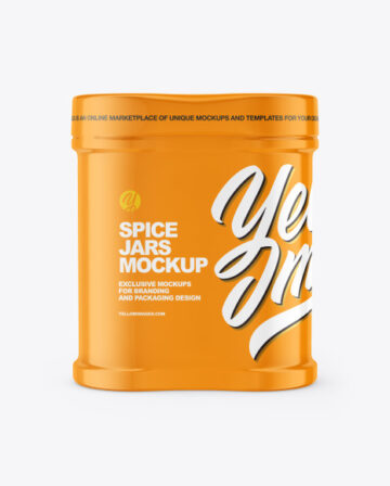Two Spice Jars w/ Glossy Shrink Sleeve Mockup