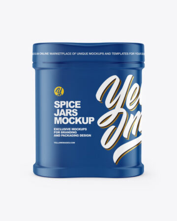 Two Spice Jars w/ Matte Shrink Sleeve Mockup
