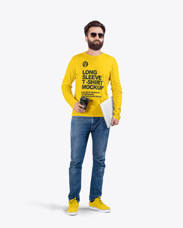 Man in Crew Neck Long Sleeve Shirt Mock