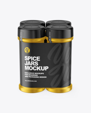 Four Metallic Spice Jars Mockup