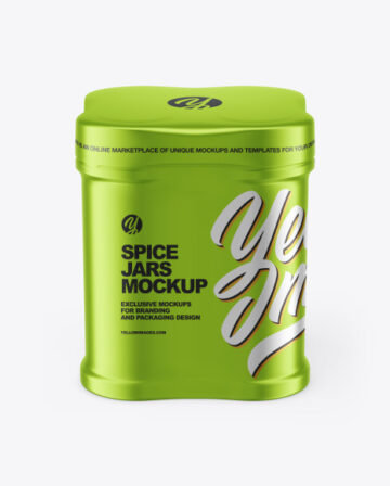 Four Spice Jars w/ Metallic Shrink Sleeve Mockup