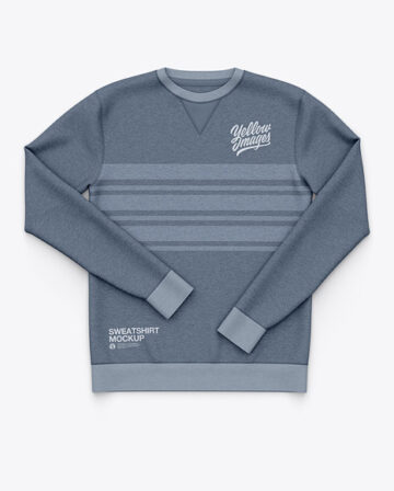 Men's Heather Crew Neck Sweatshirt / Sweater Mockup - Front Top View