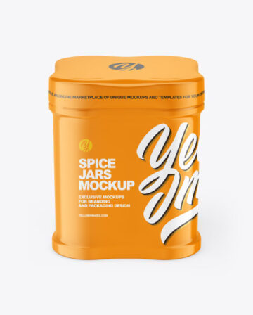 Four Spice Jars w/ Glossy Shrink Sleeve Mockup