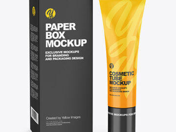 Glossy Cosmetic Tube w/ Box Mockup
