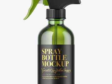 Green Glass Spray Bottle Mockup