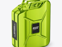 Metallic Fuel Jerrycan Mockup - Half Side View (High-Angle Shot)