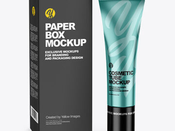 Metallic Cosmetic Tube w/ Box Mockup