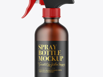 Frosted Amber Glass Spray Bottle Mockup