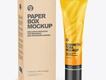 Glossy Cosmetic Tube w/ Kraft Box Mockup