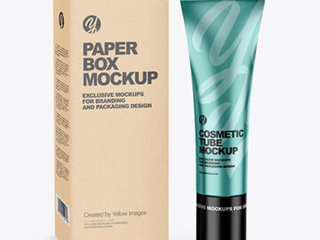 Metallic Cosmetic Tube w/ Kraft Box Mockup