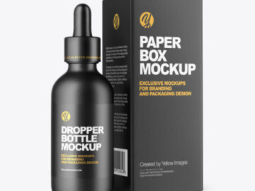 Ceramic Dropper Bottle with Paper Box Mockup
