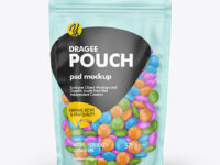 Frosted Plastic Pouch w/ Dragee Mockup