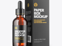 Amber Dropper Oil Bottle with Paper Box Mockup