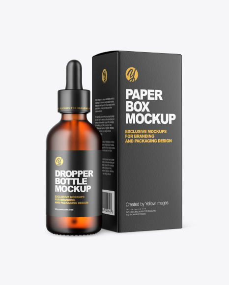Frosted Amber Dropper Oil Bottle with Paper Box Mockup