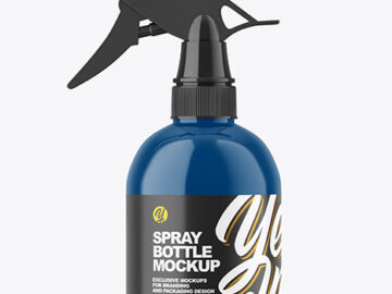 Glossy Plastic Spray Bottle Mockup