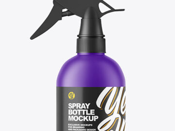 Matte Plastic Spray Bottle Mockup