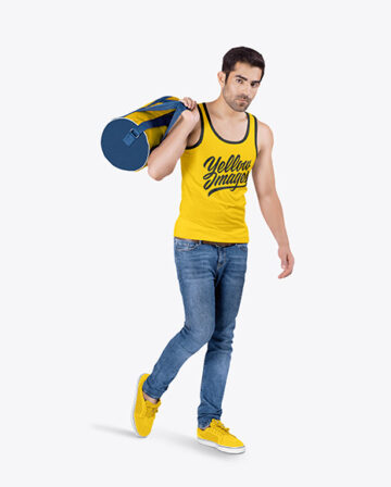 Man w/ Bag in Tank Top Mockup