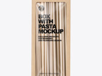 Kraft Box with Tagliatelle Pasta Mockup