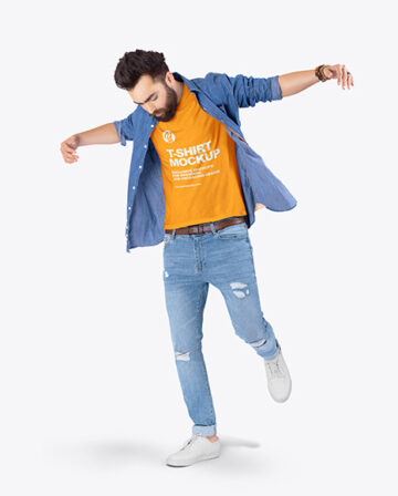 Man in T-Shirt & Denim Shirt Mockup