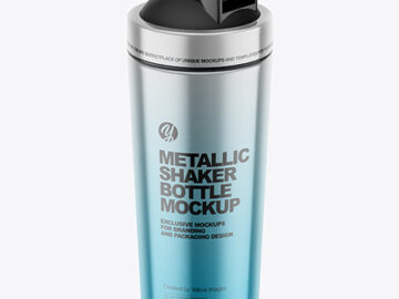 Metallic Shaker Bottle Mockup