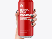 Aluminium Can With Matte Finish in a Hand Mockup