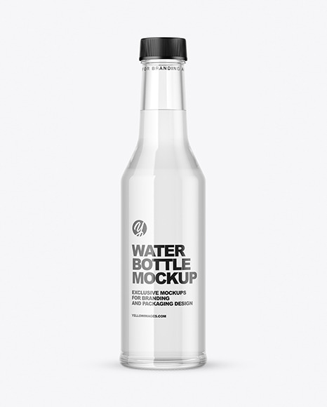 Clear Glass Water Bottle Mockup